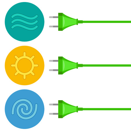 electricity tariff: Three wires with plugs are getting energy by renewable sources. Conversion of water, solar and wind energy to electricity. Green energy concept