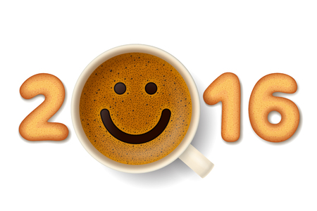 frothy: Coffee cup with funny smiling face on frothy surface and cookies in shape of digits are forming together the number 2016. Good mood and vivacity for active days in New Year 2016 Illustration
