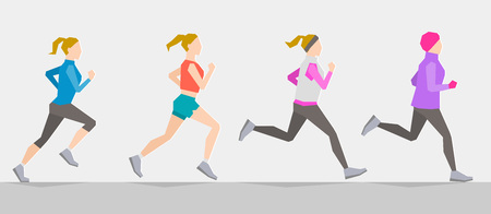according: Poses of running girl dressed in different clothes according to seasons. Seasonal trainings. Running at any time and healthy lifestyle concept