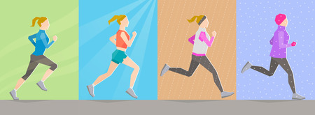 according: Poses of running girl dressed in different clothes according to seasons on seasonal background. Seasonal trainings. Running at any time and healthy lifestyle concept