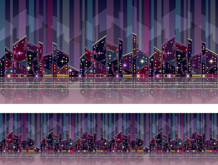 megalopolis: Seamless pattern in blue-purple colors with stylized high-rise buildings. Modern city, urban pattern