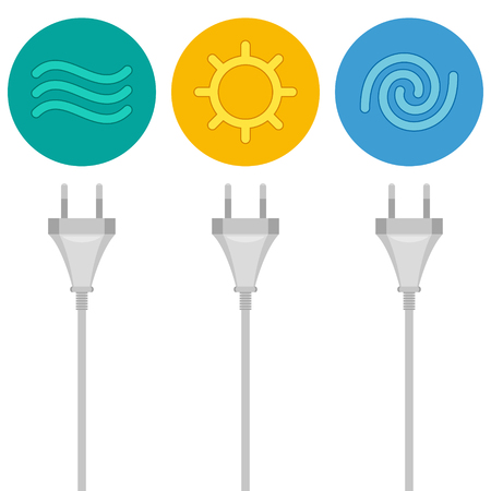 source: Three wires with plugs are getting energy by renewable sources. Conversion of water, solar and wind energy to electricity. Green energy concept