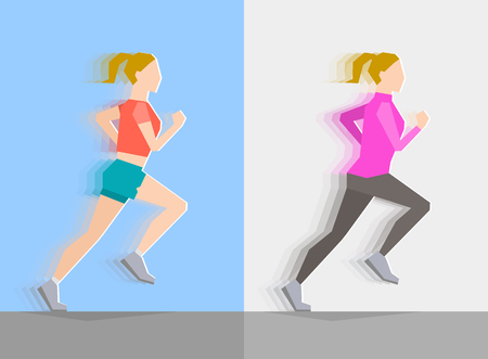 seasonal clothes: Running girl dressed in seasonal clothes, on blue background and on gray background. Motion effect. Sports and healthy lifestyle concept