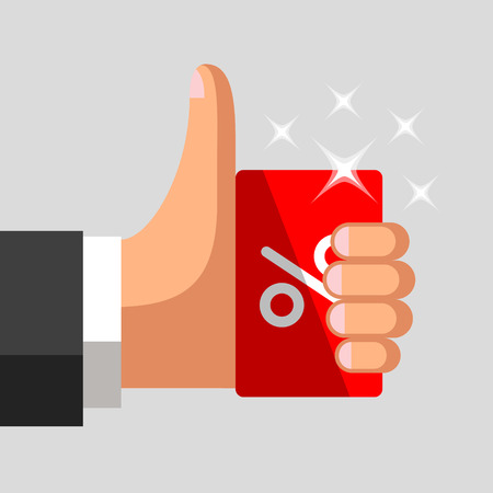 Plastic discount card with percent sign in hand of businessman. Thumb up gesture. Profitable card concept Vetores