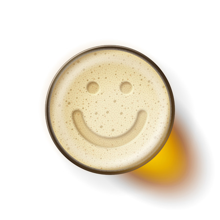 frothy: Mug of frothy drink with image of smiling face on frothy surface. Good mood and happiness concept