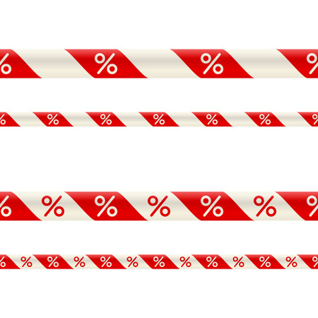 Bicolor red-and-white ribbon for decoration of discounts and promotions. Profitable buying and selling concept
