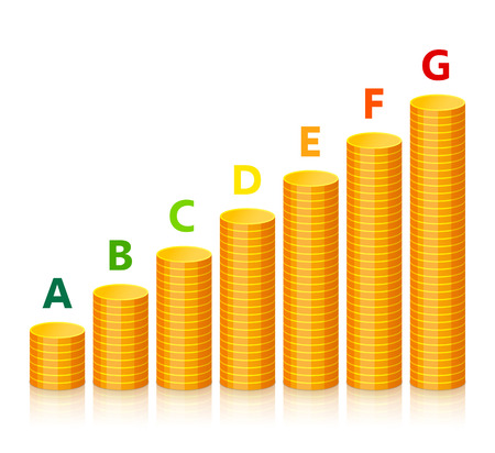 Markings of energy efficiency and stacks of gold coins increasing in accordance with power consumption and its costs. Energy saving and energy consumption concept