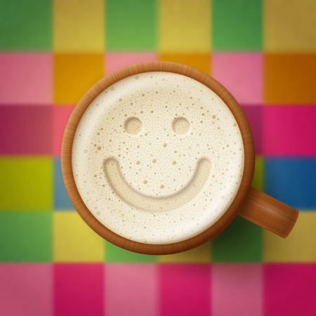 spirituous: Wooden mug of beer, smiling face at froth, on cute checkered background. Fun and good mood concept