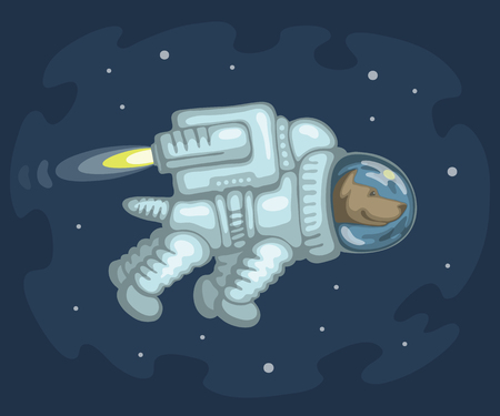 spacesuit: Cute smiling dog dressed in white spacesuit is flying in outer space using cosmic engine, on starry space background. Science and fiction concept