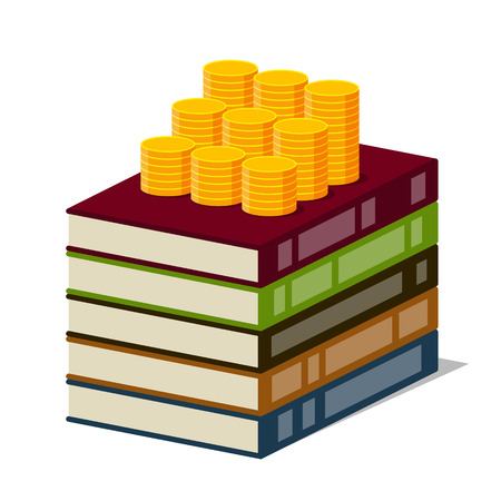 generating: Stack of books with color covers and columns of gold coins on them, on white background. Stylized drawing. Money is invested in knowledge and knowledge are generating income