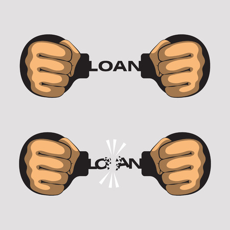 apprehended: Hands put in fists is handcuffed. Word loan instead of chain of handcuffs. Hands had broken a chain of handcuffs. Bank credit, loan and debt concept Illustration