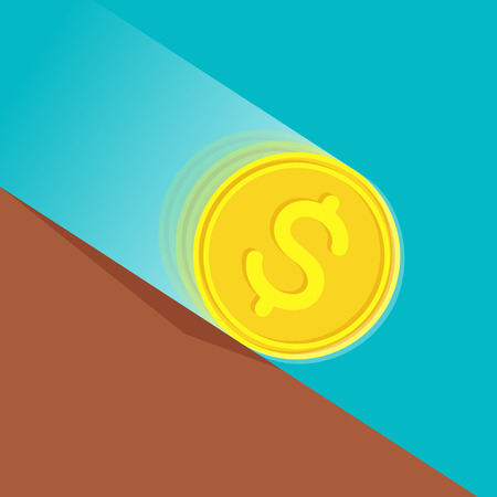 depreciation: Gold coin with dollar sign at high speed is rolling down at sloping plane. Depreciation of money concept Illustration