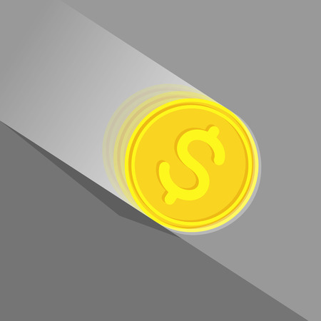 economic depression: Gold coin with dollar sign at high speed is rolling down at sloping plane. Depreciation of money concept Illustration