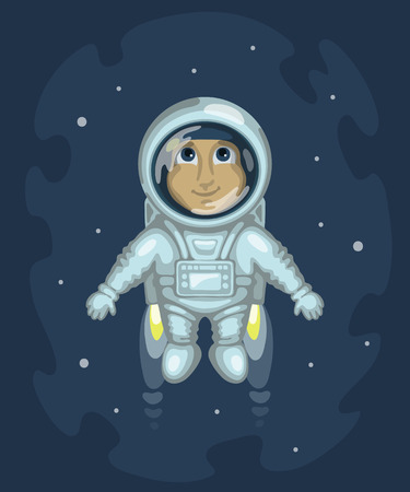spacesuit: Cute smiling man dressed in white spacesuit is flying in outer space using cosmic engine, on starry space background. Science and fiction concept