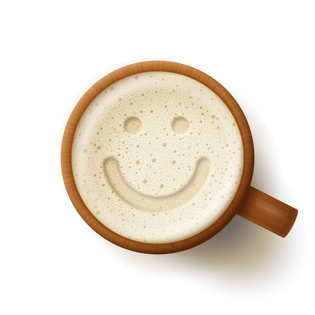 spirituous beverages: Wooden mug of beer, smiling face at froth, on white background. Fun and good mood concept