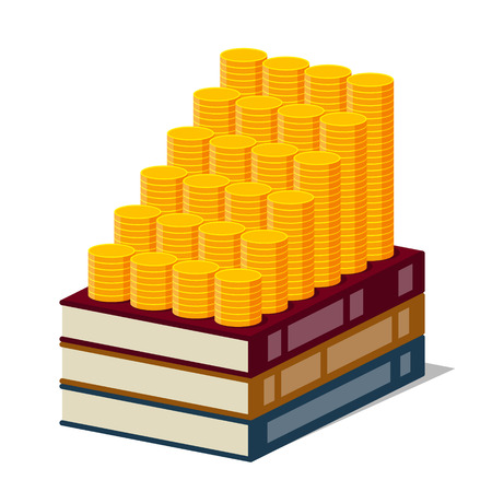 investing: Books with lored cover and increasing columns of gold coins on them, on white background. Stylized drawing. Money are investing in knowledge and knowledge are generating an income Illustration