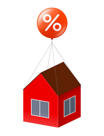 immovable property: Red house is flying by using big red balloon with white percent sign. Real estate, discounts and credits for construction and housing purchase concept