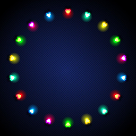 mirth: Festive stylish background with colored heart-shaped lights on dark blue textured background