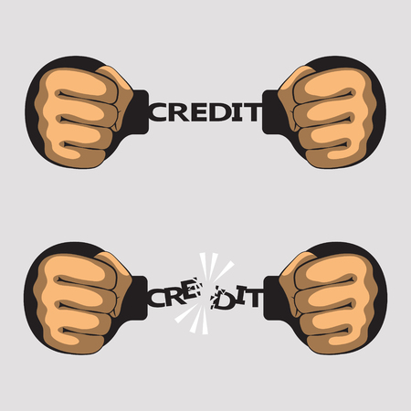 fetter: Hands put in fists is handcuffed. Word credit instead of chain of handcuffs. Hands had broken a chain of handcuffs. Bank credit, loan and debt concept Illustration