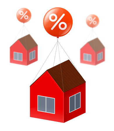 immovable property: Red house is flying by using big red balloon with white percent sign. The same houses is blurred on the background. Real estate, discounts and credits for construction and housing purchase concept