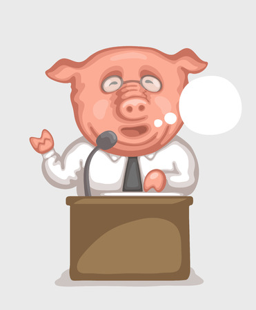 Pig dressed in white shirt with tie is making a speech using microphone at  tribune. Caricature of politician and official