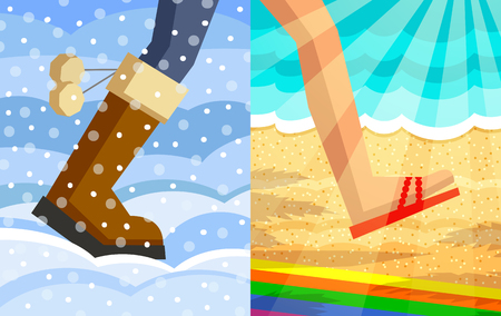 Legs of walking person. One foot in winter shoe on snow and snowdrifts background, another foot in slipper on beach and sea background in sunshine. Step from winter to summer concept Illustration