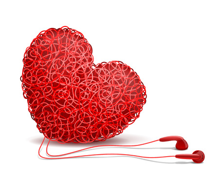weaved: Heart weaved from variety of twisted red wires and earphones nearby, on white background. Listening to your heart concept Illustration