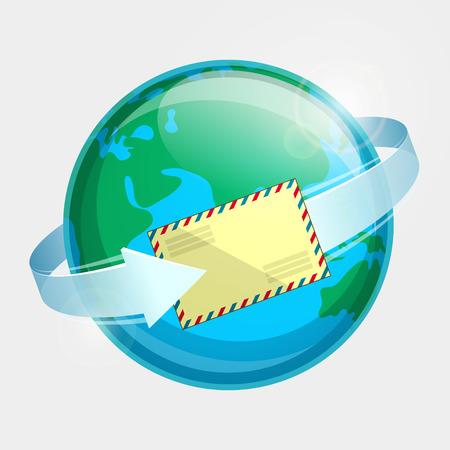 par avion: Eastern hemisphere of globe, envelope par avion and arrow around terrestrial globe. Airmail delivery throughout the world
