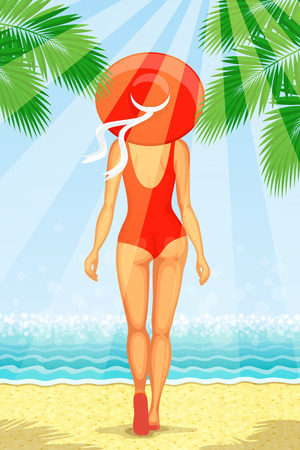 Slender woman dressed in red swimsuit with big hat at her head is walking at the beach with seascape ahead, in sunbeams. Full length back view