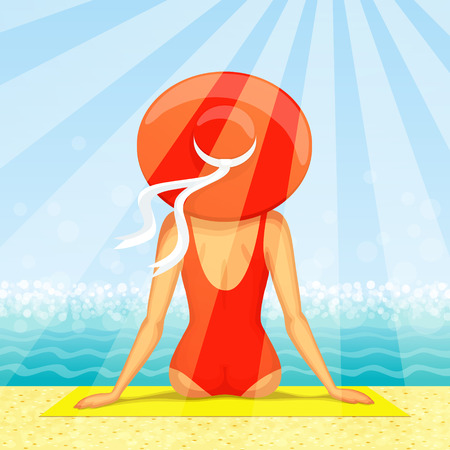 rear view girl: Slender woman dressed in red swimsuit with big hat at her head is sitting on the beach with seascape ahead, in sunbeams. Back view
