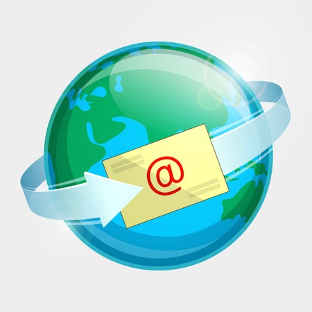 Eastern hemisphere of globe, e-mail and arrow around terrestrial globe. Momentary message throughout the world Vetores
