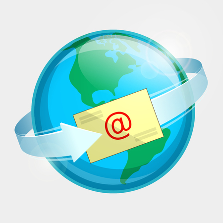 throughout: Western hemisphere of globe, e-mail and arrow around terrestrial globe. Momentary message throughout the world Illustration