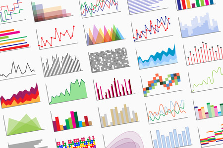 diagrammatic: A variety of colorful infographics samples for design of various information and data. Examples of graphs