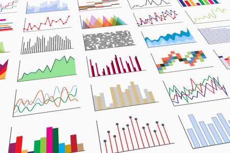 diagrammatic: A variety of colorful infographics samples for design of various information and data, perspective view. Examples of graphs