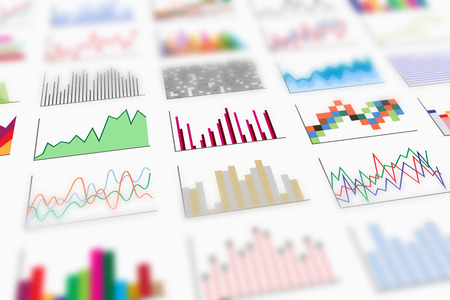 diagrammatic: A variety of colorful infographics samples for design of various information and data, perspective view and shallow depth of field. Examples of graphs