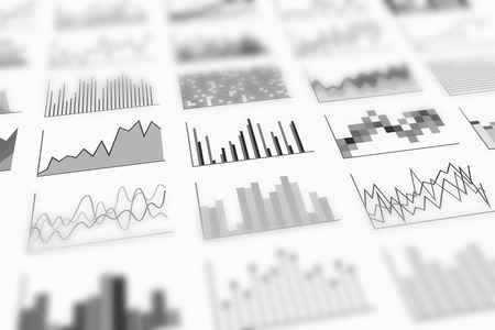 systematization: A variety of infographics samples for design of various information and data, perspective view and shallow depth of field. Examples of graphs. Black-and-white image Stock Photo