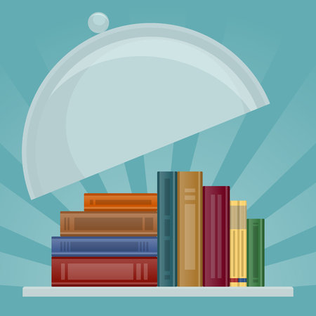 erudite: Stack of books as symbol of knowledge is lying on salver with cover lifted. Knowledge is served and ready for use