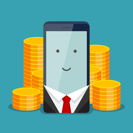 Modern phone for businessman and gold coins behind it, on blue background. The positive account and service payment