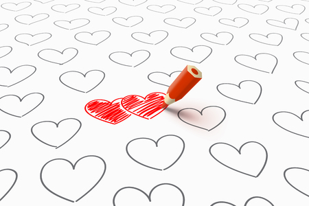 amorousness: Two red heart, drawn by red pencil, and a lot of gray separate hearts around. Find your love concept Illustration