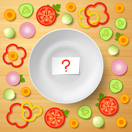 nourishing: Variety of sliced ??vegetables is lying around white bowl, paper with question mark inside bowl, on wooden background. Assorted vegetables for salad. Raw food diet and vegetarian diet Illustration
