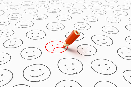 unhappiness: Many gray happy smileys and one red unhappy smiley drawn by red pencil. Bad mood and unhappiness concept Illustration