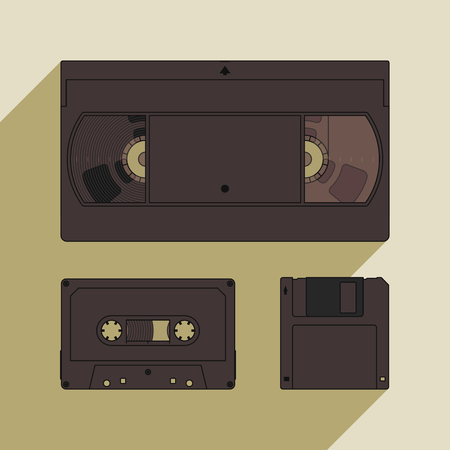 outdated: Videocassette, compact cassette and floppy disk. Retro storage devices. Outdated technology concept Illustration