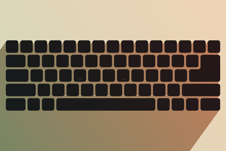 input device: Black keyboard without symbols. Modern input device. Computer equipment. Tinting effect
