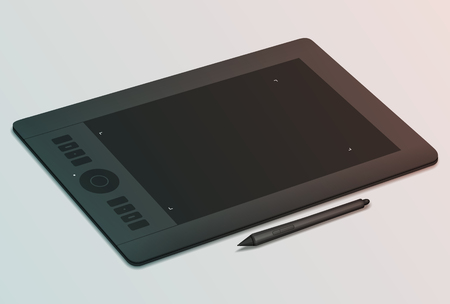 Realistic black graphic tablet and stylus nearby. Tool for creativity. Modern device for graphic design. Tinting effect Illustration