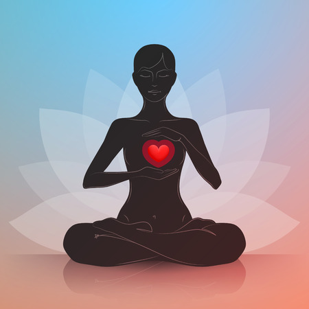 Woman is sitting in lotus position and gently protecting her heart. Dark silhouette. Symbol of lotus flower at background. Harmony and tranquility in heart and thoughts