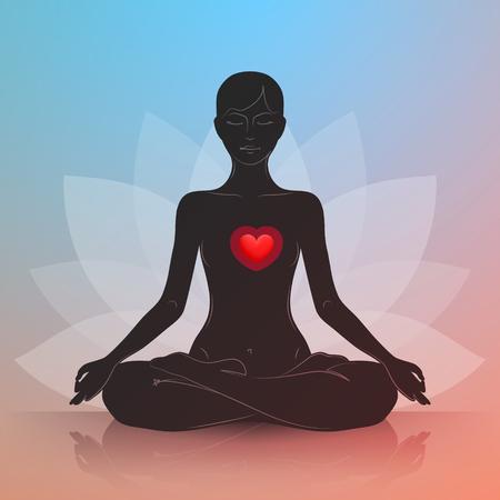 La mujer está sentado en posición de loto. Corazón rojo. silueta oscura. Símbolo de la flor de loto en el fondo. La armonía y la tranquilidad en el corazón y pensamientos Ilustración de vector