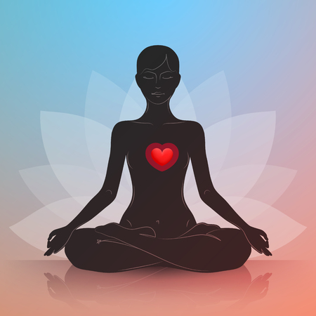 Woman is sitting in lotus position. Red heart. Dark silhouette. Symbol of lotus flower at background. Harmony and tranquility in heart and thoughts Vectores