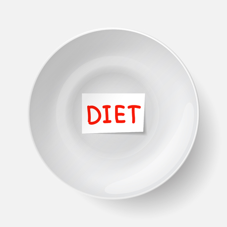 limitation: Big white plate with piece of paper with �diet� inscription inside plate. Ration for those who are dieting. Food restriction and weight loss.