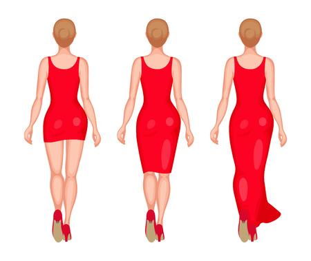las mujeres delgadas vestidas con vestidos rojos. Mini, Midi y Maxi. Vista trasera. Belleza y moda concepto