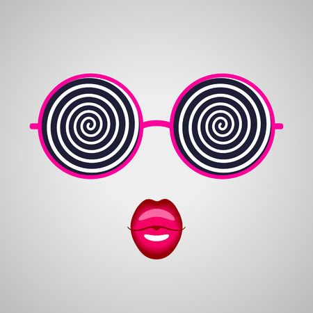 hypnotizing: Big round hypnotizing pink-rimmed glasses and kissing lips. Hypnotic look and magic beauty Illustration